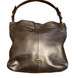 FOSSIL Cow Hide Leather Hobo Bag Metallic Silver